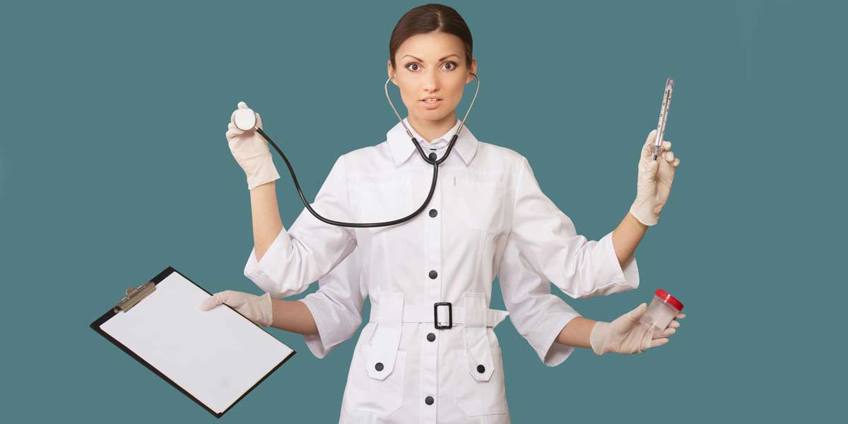 A director of nursing with 4 arms to depict how many different tasks they work on in a normal day