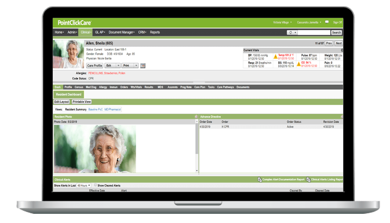 PointClickCare's Skilled Nursing Core EHR Product Screenshot on laptop