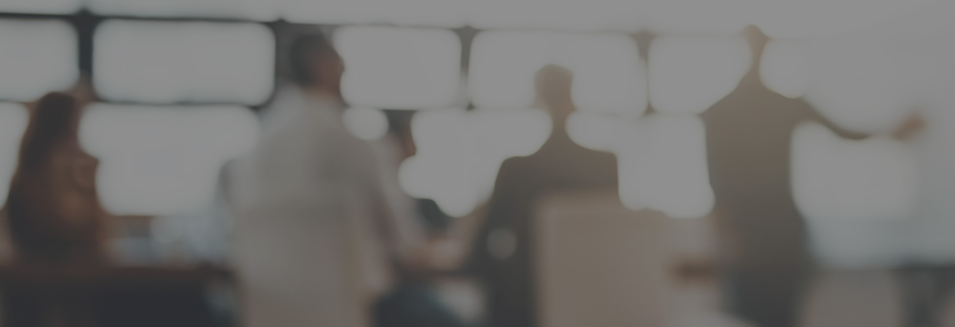 Group of professions in a meeting room with one presenting with a blurred image effect