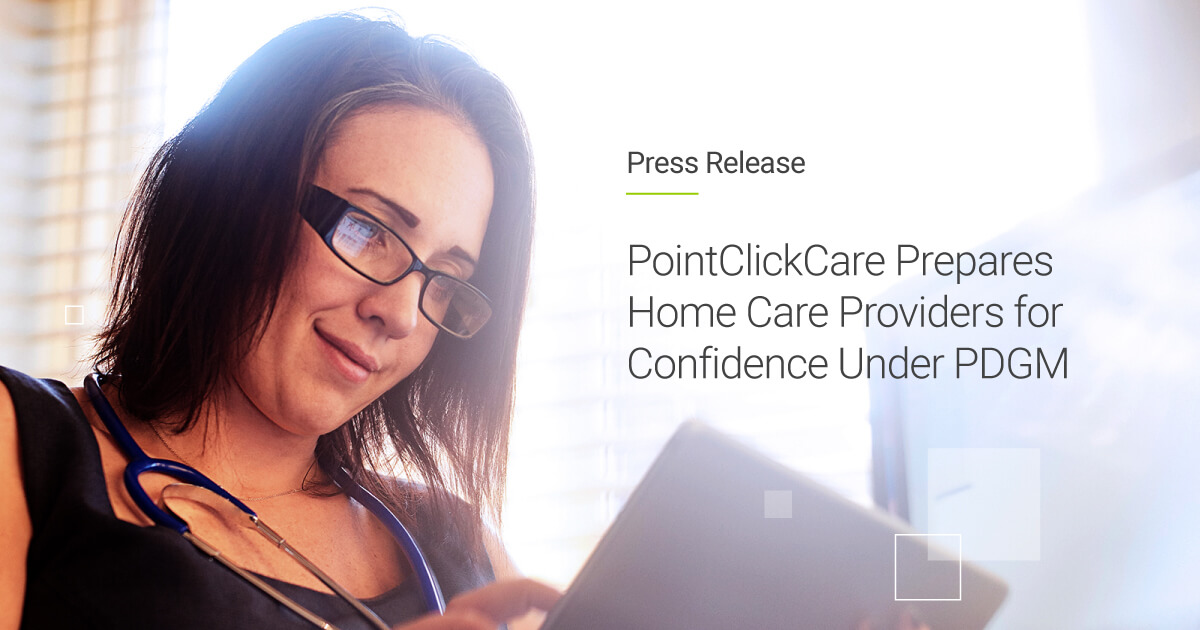 A female Director of Clinical Services using PointClickCare's EHR on a tablet device